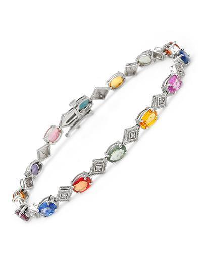 Brand New Bracelet with 7.4ctw of Precious Stones - diamond and sapphire 14K White gold