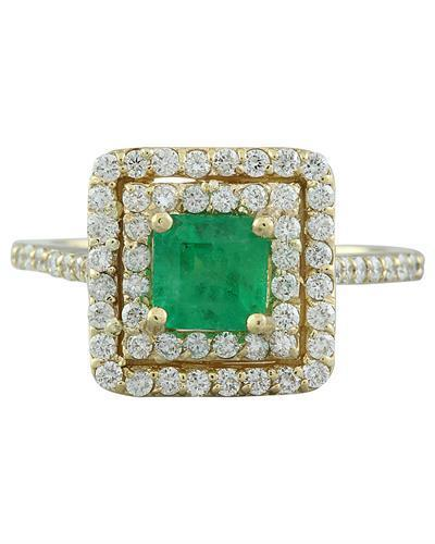 1.55 Carat Emerald 14K Yellow Gold Diamond Ring