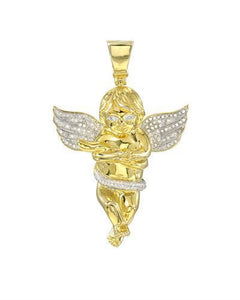Brand New Pendant with 0.77ctw diamond 14K/925 Yellow Gold plated Silver
