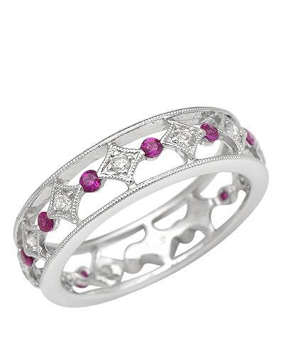 Brand New Ring with 0.4ctw of Precious Stones - diamond and ruby 14K White gold