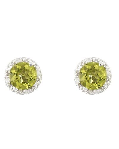 Brand New Earring with 1.72ctw of Precious Stones - diamond and peridot 925 Silver sterling silver