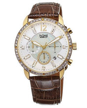Load image into Gallery viewer, burgi BUR089BR Brand New Quartz date Watch with 0ctw of Precious Stones - crystal and mother of pearl
