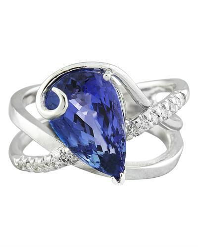 5.75 Carat Tanzanite 14K White Gold Diamond Ring