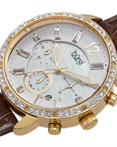 burgi BUR089BR Brand New Quartz date Watch with 0ctw of Precious Stones - crystal and mother of pearl