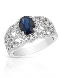 Brand New Ring with 1.2ctw of Precious Stones - diamond and sapphire 14K White gold