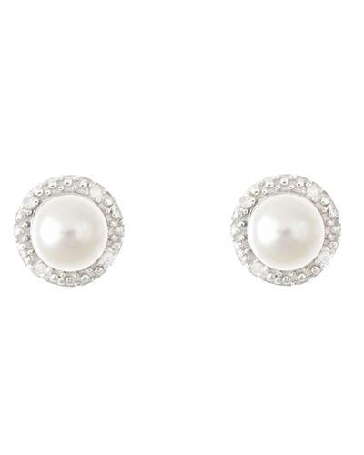 Brand New Earring with 0.02ctw of Precious Stones - diamond and pearl 925 Silver sterling silver