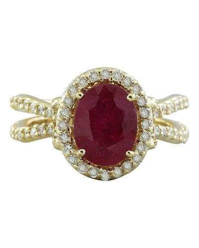 3.04 Carat Ruby 18K Yellow Gold Diamond Ring