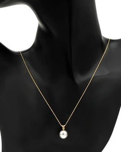 PEARL LUSTRE Brand New Necklace with 0.07ctw of Precious Stones - diamond and pearl 14K Yellow gold