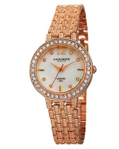 Akribos XXIV AK757RG Brand New Swiss Quartz Watch with 0.04ctw of Precious Stones - crystal, diamond, and mother of pearl