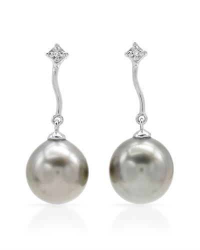PEARL LUSTRE Brand New Earring with 0.01ctw of Precious Stones - diamond and pearl 14K White gold