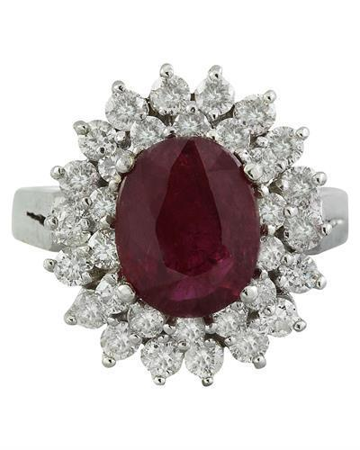 3.54 Carat Ruby 18K White Gold Diamond Ring