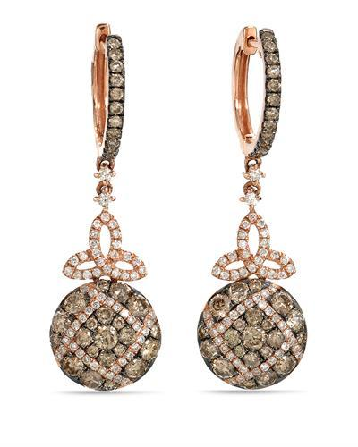 Brand New Earring with 1.65ctw of Precious Stones - diamond and diamond 14K Rose gold