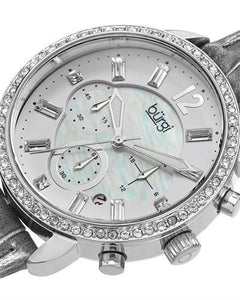 burgi BUR089GY Brand New Quartz date Watch with 0ctw of Precious Stones - crystal and mother of pearl