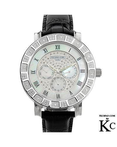 Techno Com WKD12W Brand New Quartz day date Watch with 0.5ctw of Precious Stones - diamond and mother of pearl