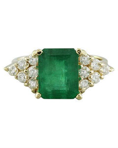 3.32 Carat Emerald 18K Yellow Gold Diamond Ring