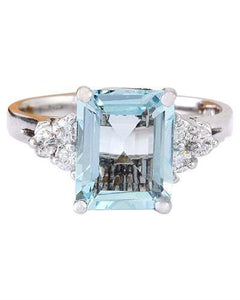 2.90 Carat Natural Aquamarine 14K Solid White Gold Diamond Ring