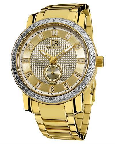 Joshua & Sons JS-20-YG Brand New Quartz Watch with 0.06ctw diamond