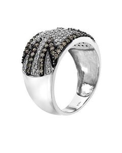 Lundstrom Brand New Ring with 0.99ctw of Precious Stones - diamond and diamond 14K White gold
