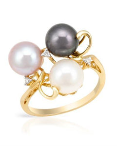PEARL LUSTRE Brand New Ring with 0.03ctw of Precious Stones - diamond and pearl 14K Yellow gold