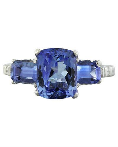 2.87 Carat Tanzanite 14K White Gold Diamond Ring