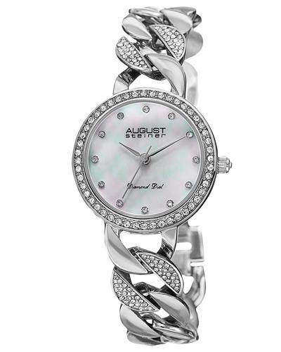 AUGUST Steiner AS8190SS Brand New Japan Quartz date Watch with 0.06ctw of Precious Stones - crystal, diamond, and mother of pearl