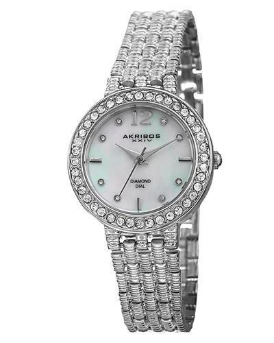 Akribos XXIV AK757SS Brand New Swiss Quartz Watch with 0.04ctw of Precious Stones - crystal, diamond, and mother of pearl