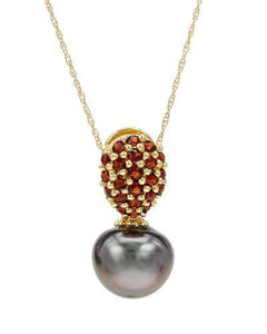 PEARL LUSTRE Brand New Necklace with 0.56ctw of Precious Stones - garnet and pearl 14K Yellow gold