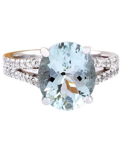 8.96 Carat Natural Aquamarine 14K Solid White Gold Diamond Ring