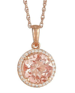 Brand New Necklace with 2.62ctw of Precious Stones - diamond and morganite 925 Rose sterling silver