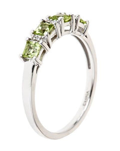Brand New Ring with 1.02ctw of Precious Stones - diamond and peridot 925 Silver sterling silver