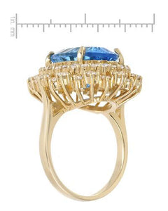 Lundstrom Brand New Ring with 10.45ctw of Precious Stones - diamond and topaz 14K Yellow gold