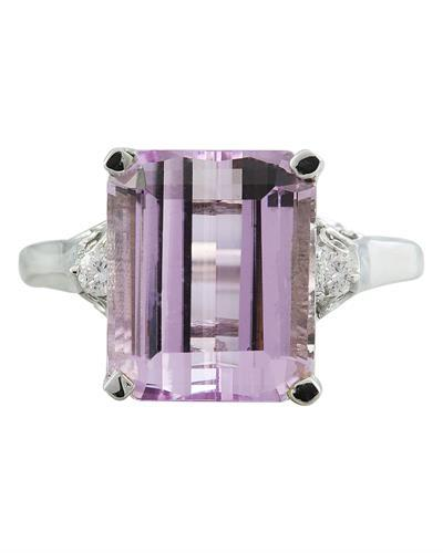 5.06 Carat Kunzite 14K White Gold Diamond Ring