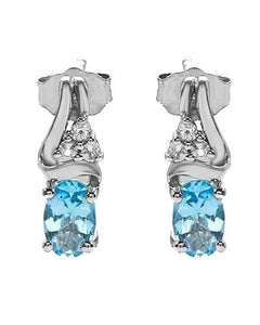 Brand New Earring with 1.1ctw of Precious Stones - topaz and topaz 925 White sterling silver