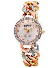 Load image into Gallery viewer, AUGUST Steiner AS8190TRI Brand New Japan Quartz date Watch with 0.06ctw of Precious Stones - crystal, diamond, and mother of pearl