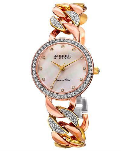 AUGUST Steiner AS8190TRI Brand New Japan Quartz date Watch with 0.06ctw of Precious Stones - crystal, diamond, and mother of pearl