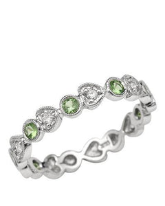 Brand New Ring with 0.56ctw of Precious Stones - diamond and Tsavorite Garnet 14K White gold