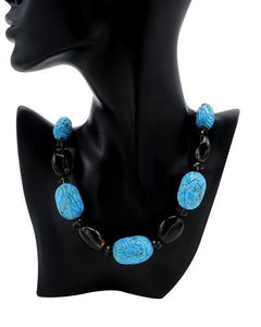 Brand New Necklace with 1171ctw of Precious Stones - topaz and turquoise 14K Yellow gold