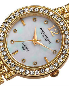 Akribos XXIV AK757YG Brand New Swiss Quartz Watch with 0.04ctw of Precious Stones - crystal, diamond, and mother of pearl