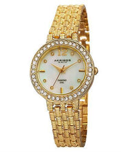 Load image into Gallery viewer, Akribos XXIV AK757YG Brand New Swiss Quartz Watch with 0.04ctw of Precious Stones - crystal, diamond, and mother of pearl