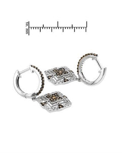 Brand New Earring with 0.78ctw of Precious Stones - diamond and diamond 14K White gold