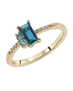 Brand New Ring with 0.54ctw of Precious Stones - diamond, topaz, and topaz 10K Yellow gold
