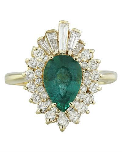 2.60 Carat Emerald 14K Yellow Gold Diamond Ring