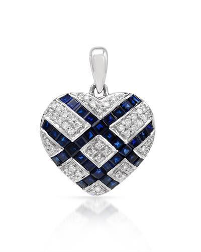 Brand New Pendant with 2.89ctw of Precious Stones - diamond and sapphire 14K White gold