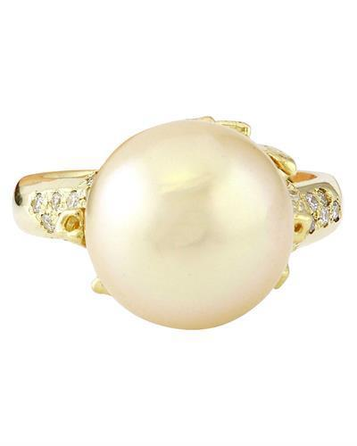 12.45 mm Gold South Sea Pearl 14K Solid Yellow Gold Diamond Ring