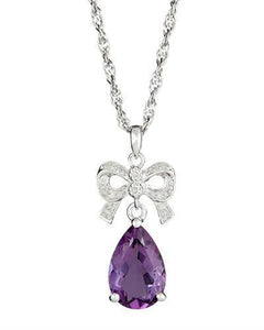 Brand New Necklace with 5.1ctw of Precious Stones - amethyst and diamond 925 Silver sterling silver