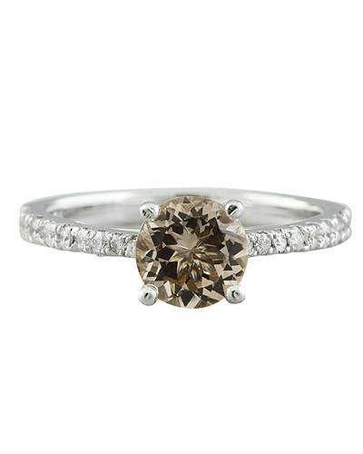 1.30 Carat Morganite 14K White Gold Diamond Ring