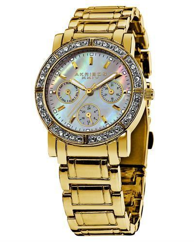 Akribos XXIV AK530YG Brand New Japan Quartz day date Watch with 0ctw of Precious Stones - crystal and mother of pearl