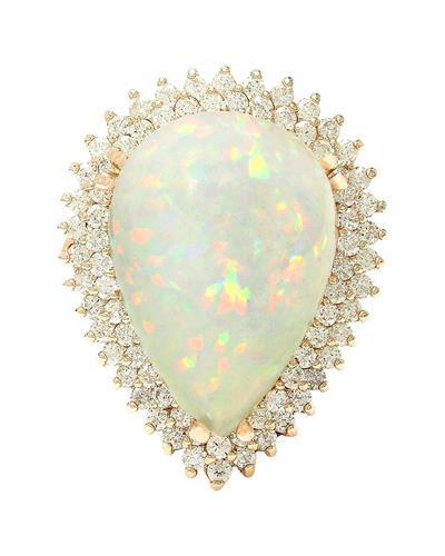 13.18 Carat Natural Opal 14K Solid Rose Gold Diamond Ring
