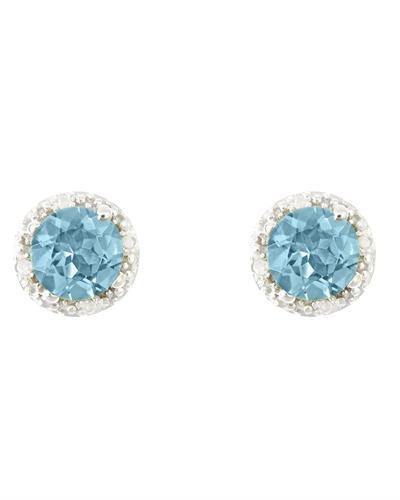 Brand New Earring with 2.02ctw of Precious Stones - diamond and topaz 925 Silver sterling silver
