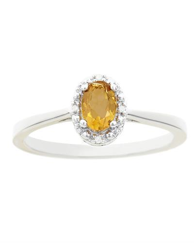 Brand New Ring with 0.46ctw of Precious Stones - citrine and diamond 925 Silver sterling silver